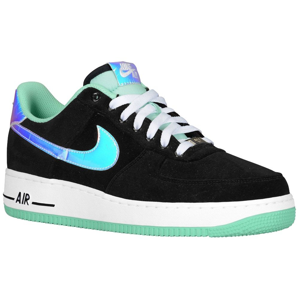 Nike Air Force 1 Low Black Shiny Silver Green Glow